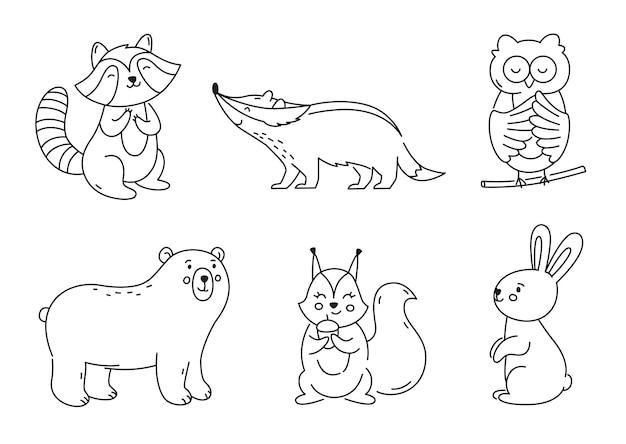 Set di animali della foresta di contorno isolati