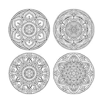 Set di outline mandala ornamento rotondo decorativo, può essere utilizzato per libro da colorare, terapia anti-stress, biglietto di auguri, stampa della cassa del telefono, ecc. stile disegnato a mano isolato su priorità bassa bianca