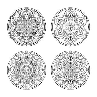 Set di outline mandala ornamento rotondo decorativo. stile disegnato a mano, isolato.