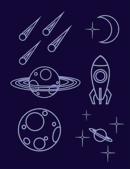 Set di contorno icona dello spazio pianeta astronave, asteroide e altri illustrazione vettoriale piatto su sfondo scuro.