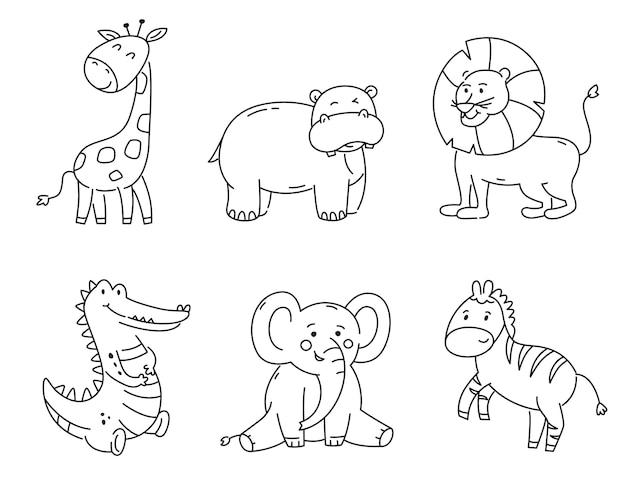Set di contorno animali tropicali isolati