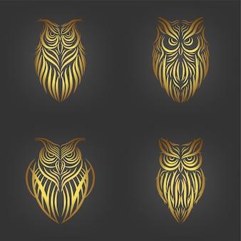 Set di tatuaggio gufo, collezione d'arte linea gufo