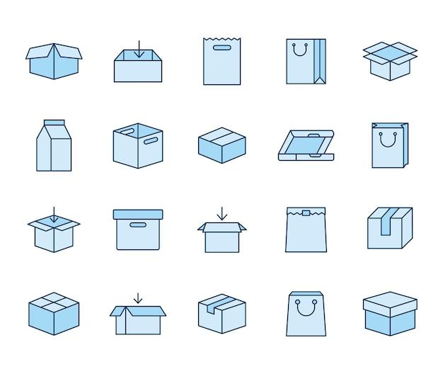Set di icone di pacchetti su uno sfondo bianco