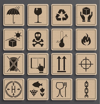 Set di simboli di imballaggio.