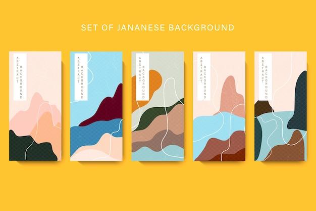 Impostare modelli di imballaggio linea modello in stile asiatico con motivo giapponese.