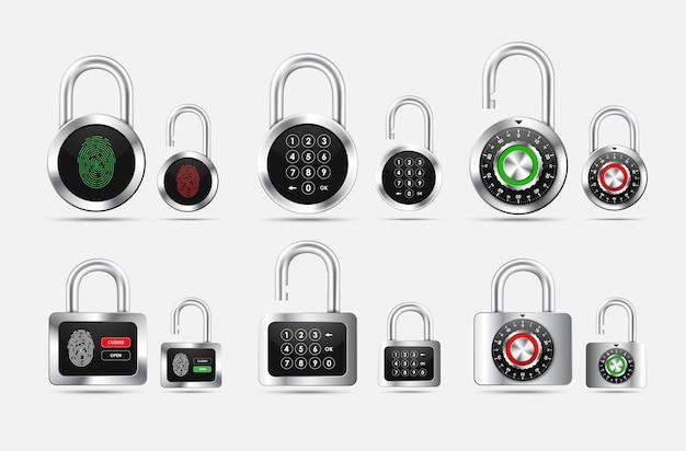 Imposta lucchetto rotondo e quadrato, chiuso e aperto con diversi tipi di protezione sotto forma di serratura a combinazione, codice pin e impronta digitale sul quadrante nero