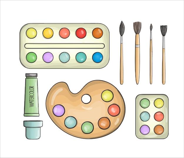 Set di icone di vernice e pennello. cancelleria colorata vettoriale, materiali da disegno, forniture per ufficio o scuola isolati su sfondo bianco. stile cartone animato