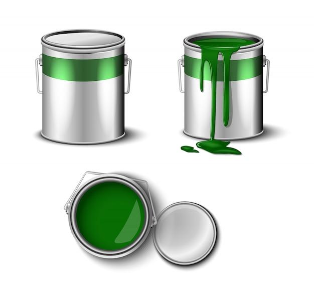 Set di vernice può colore verde vista superiore e laterale.
