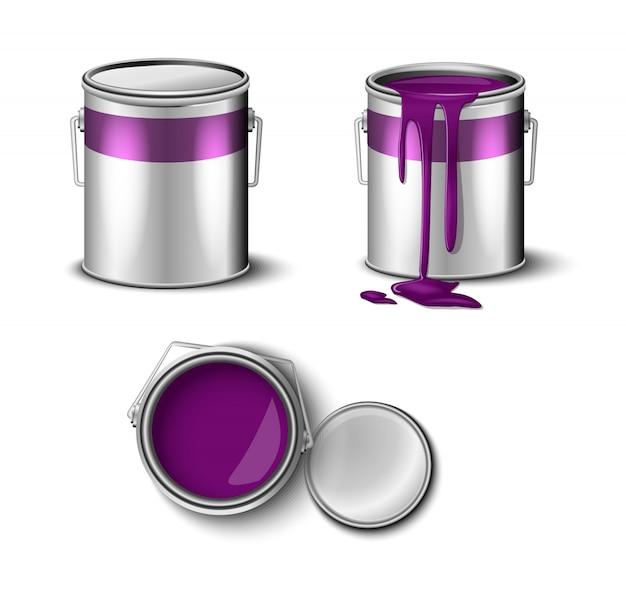 Set di vernice può colore viola vista superiore e laterale.
