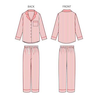 Impostare la vista anteriore e posteriore del pigiama. vestito degli indumenti da notte.