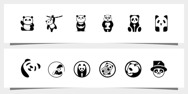 Imposta il logo del panda vettore premium