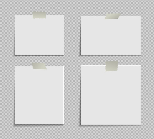 Set di carta a4 con angolo arricciato su sfondo trasparente con ombre pagina di carta realistica mock up
