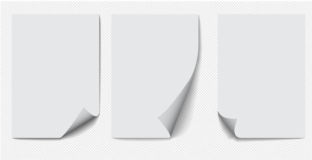 Set di carta a4 con angolo arricciato su sfondo trasparente con ombre, pagina di carta realistica.