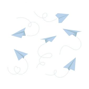 Set di aeroplano di carta isolato su sfondo bianco. icona simbolo di viaggio e percorso.