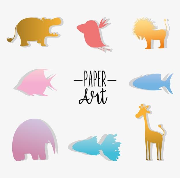 Set di icone di arte di carta