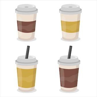 Set di tazze da caffè in carta.