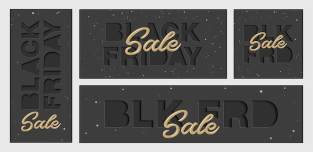 Set di carta tagliata con le parole. vendita venerdì nero.