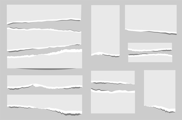 Set di carta di scarti di forme diverse isolati su sfondo grigio.