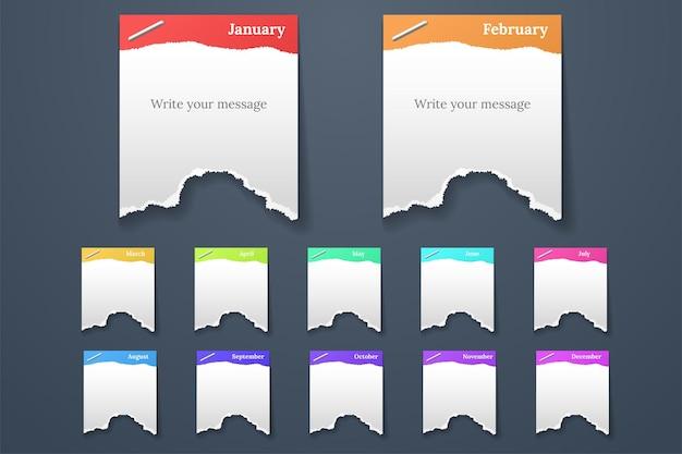 Set di lacrime di forme diverse di carta isolate su grigio
