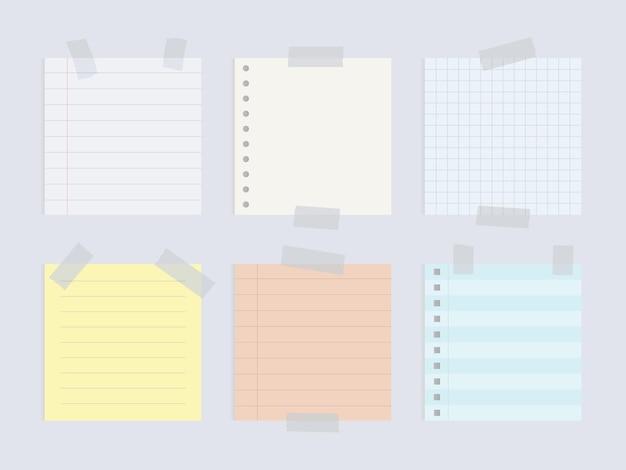 Set di note di carta attaccate con nastri adesivi illustrazione dell'icona dell'ufficio di carta promemoria