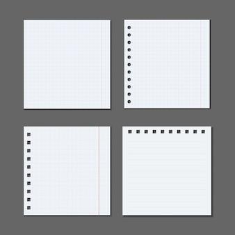 Set di fogli di carta a4, a5 con ombre, pagina di carta realistica mock up.