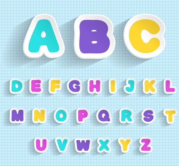 Set di adesivi di carta con lettere