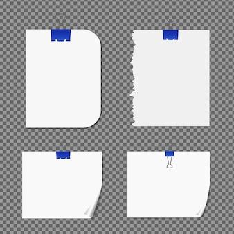 Set di carta su trasparente con ombre, pagina di carta realistica.