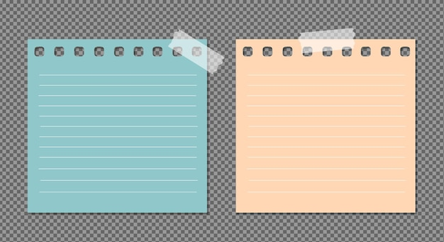 Set di carta con ombre, pagina di carta realistica.