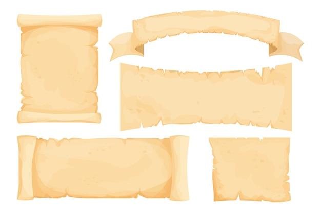 Imposta la carta antica di papiro pergamena in bianco in stile cartone animato