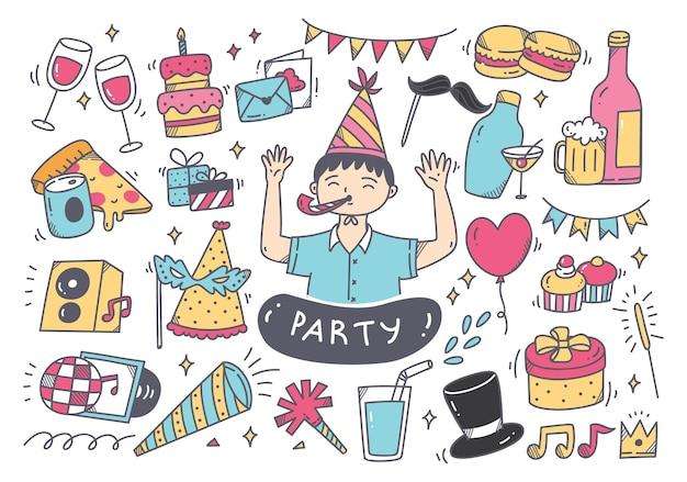 Set di doodle di festa e accessori