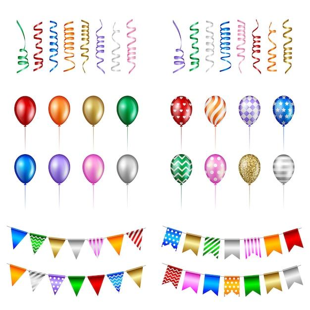 Insieme di elementi del partito. palloncini isolati, stelle filanti e gagliardetti