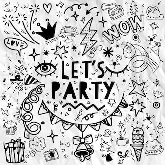 Set di illustrazione del partito, vettore di linea di schizzo di doodle disegnato a mano, insieme del partito. icone di schizzo per poster flyer invito