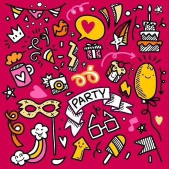Insieme della linea di schizzo di doodle disegnato a mano dell'illustrazione del partito