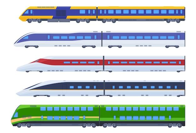 Set di treni passeggeri. trasporto veloce di passeggeri, comunicazione a lunga distanza.