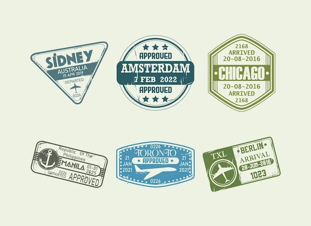 Set di timbri sui passaporti
