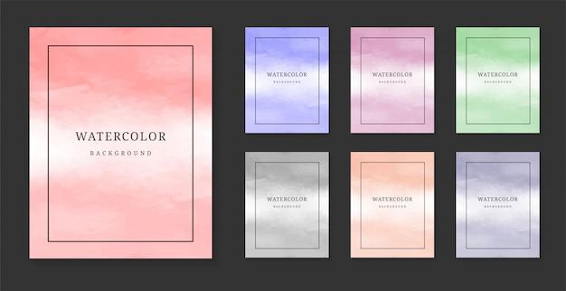 Set di sfondo acquerello di colore pastello.