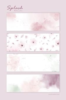 Set di acquerello rosa pastello per sfondo orizzontale. macchia vettore artistico utilizzato come elemento nel design decorativo.