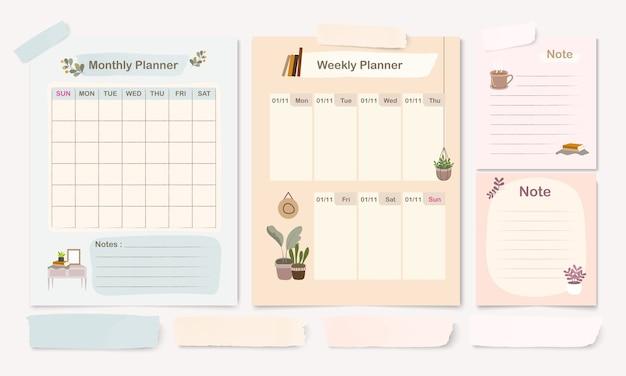 Set di templet planner pastello con modello di pagina mensile, settimanale e nota
