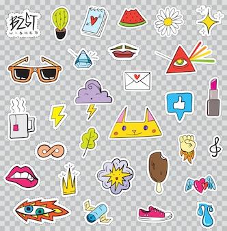 Set di elementi patch come fiore, cuore, corona, nuvola, labbra, posta, diamante, occhi. disegnato a mano . collezione di adesivi alla moda carino. distintivi e perni di schizzo di pop art di doodle.