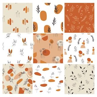 Serie di disegni di modelli con elementi floreali e forme astratte.