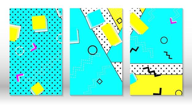 Set di modelli astratto sfondo colorato divertente stile hipster anni '80-'90.