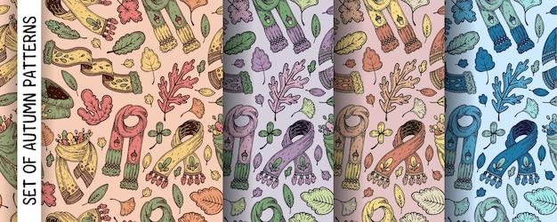 Set di modelli con foglie autunnali e sciarpe.