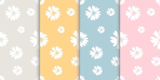 Serie di modelli con fiori di camomilla