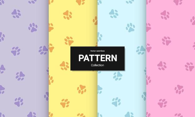 Set di paw print seamless pattern.