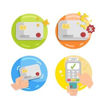 Insieme di metodi di pagamento come carta di credito.