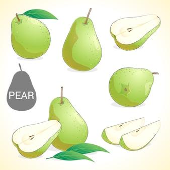 Set di frutta pera in vari stili di formato vettoriale