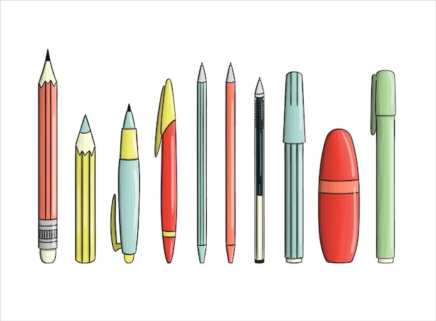 Set di icone di penna e matita. cancelleria colorata vettoriale, materiale per scrivere, materiale scolastico o per ufficio isolato su priorità bassa bianca. stile cartone animato