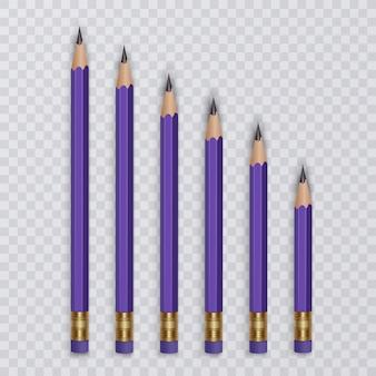 Set di matite con gomma. set di matite di diverse dimensioni.