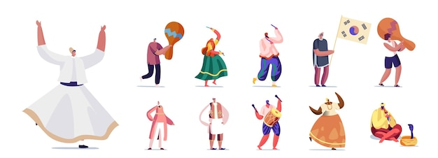 Set di persone in autentici costumi nazionali con strumenti musicali. personaggi maschili e femminili che ballano, suonano musica e si esibiscono in uno spettacolo isolato su sfondo bianco. fumetto illustrazione vettoriale