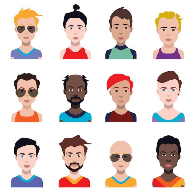Set di avatar di persone in stile piatto